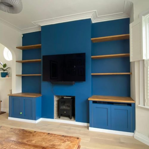 Indigo wall and matching base units with solid wood top and 6 floating shelves. Image acts as a link to more information and images.